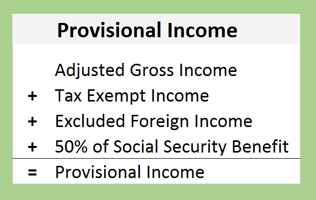 Social Security Tax Provisional Income