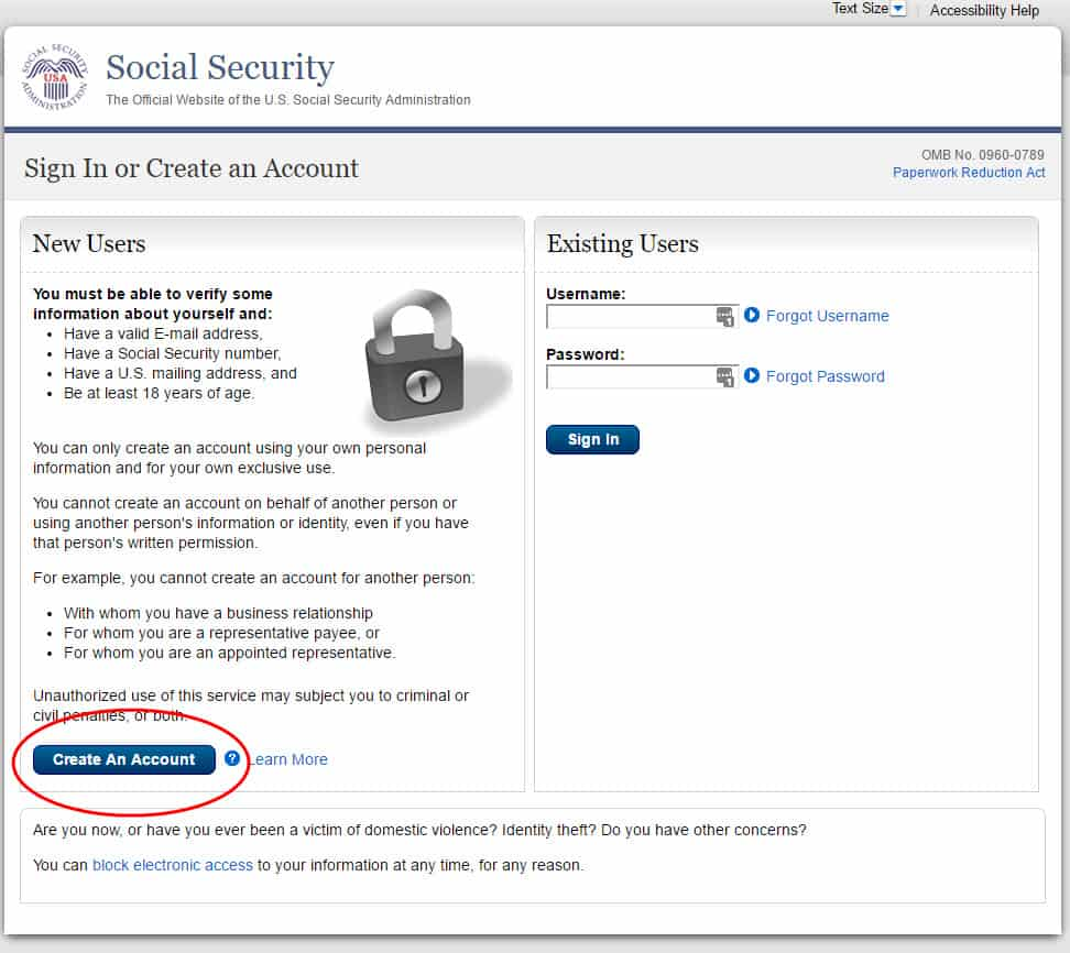 Create my Social Security account step #2