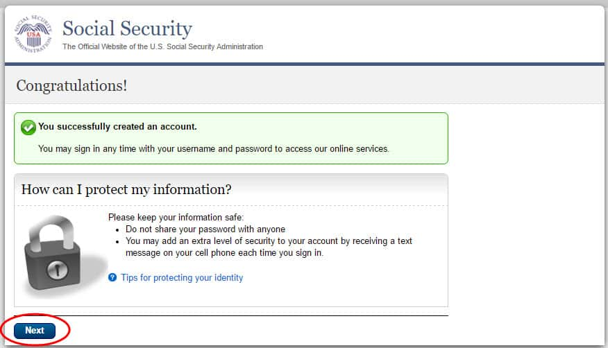 open a my social security account step #5