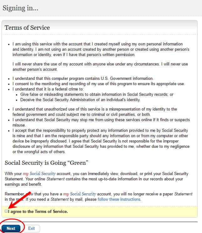 open a my social security account step #7