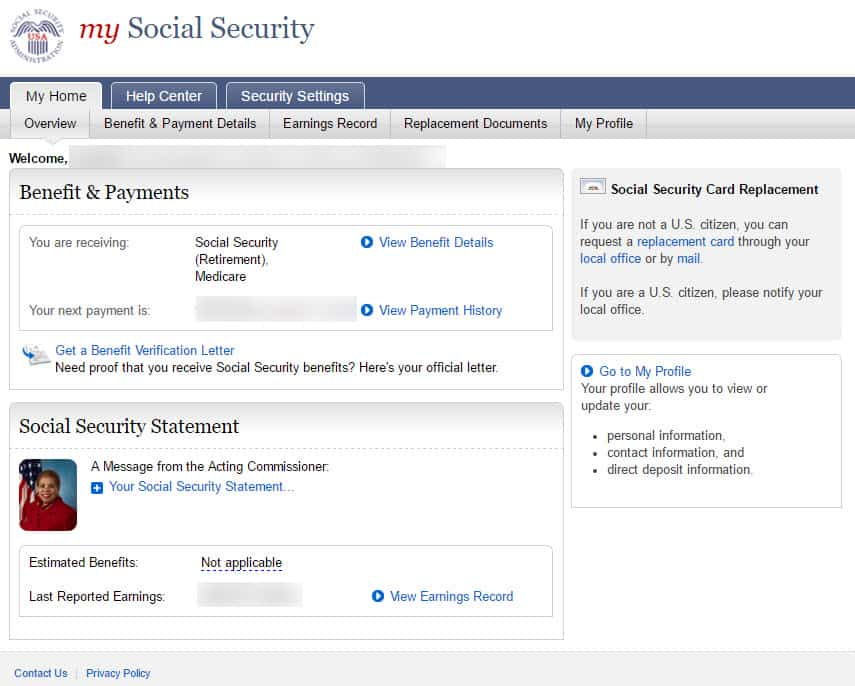 open a my social security account step #8