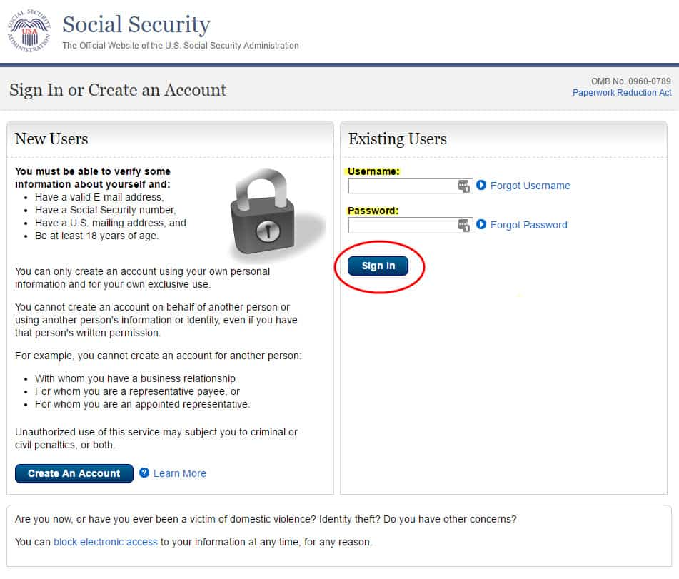 social security online username and password page