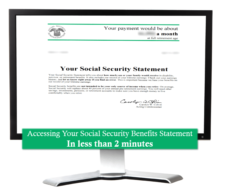 social security statement on a computer screen