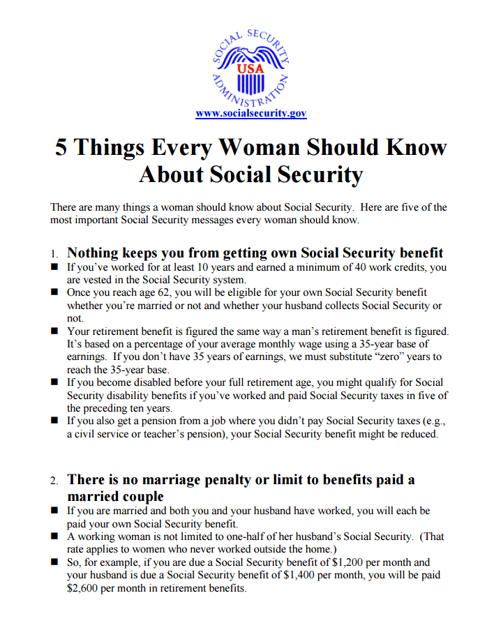 5 Things Women Should Know About Social Security