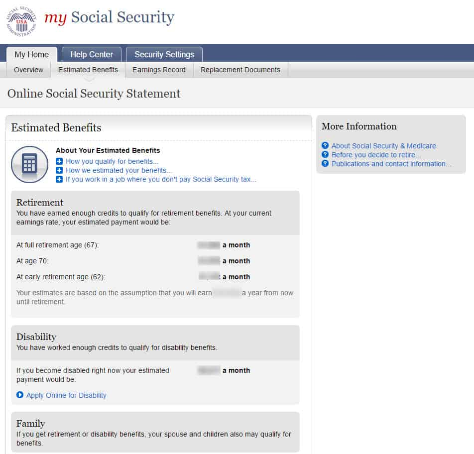 online social security benefits