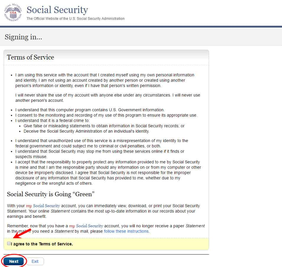 my ssa terms of service