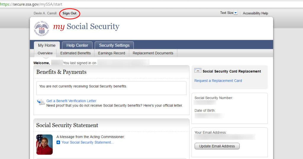 sign out social security online