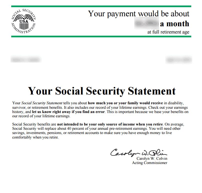 social security benefits statement example