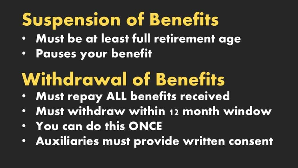 suspension of benefits vs withdrawal of benefits